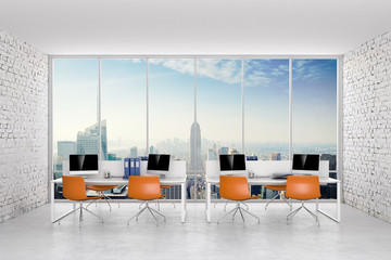 3d office interior room with white brick walls