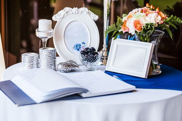 Wedding invitation on table