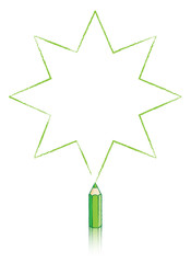 Green Colouring Pencil Drawing Eight Pointed Star