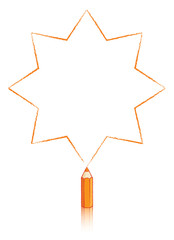 Orange Colouring Pencil Drawing Star with Eight Points