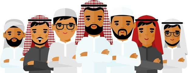 Set of cartoon arab business man in different poses. Сoncept of diversity muslim businessman in national costumes.
