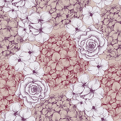 Vintage floral wallpaper. Seamless pattern with hydrangea and ro