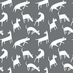 Seamless pattern with dogs. Simple vector style animals.