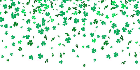 Irish clover leaves pattern for Saint Patrick Day shamrock on white vector background