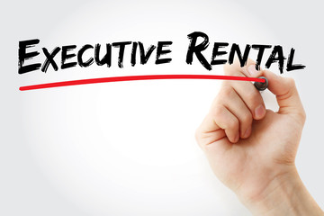 Hand writing executive rental with marker, concept background