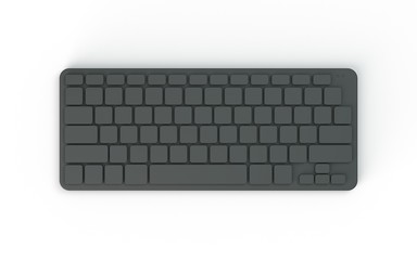 Computer keyboard.Isolated on white background.Top view.