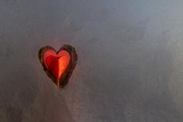 frozen window heart