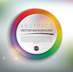 Abstract vector background. Round paper note with place for your text on the colorful design with realistic light and shadow on the white background. Vector illustration. Eps10.