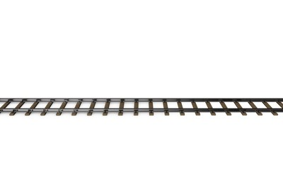 Railway track. Isolated on white background. 3D rendering illust