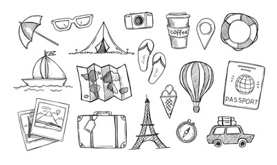 Hand drawn vector illustration. Let's go to travel. Tourism and