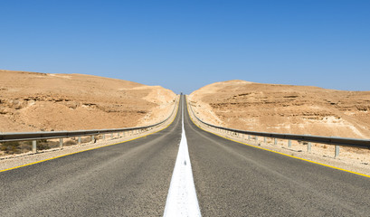 Road in desert of the Negev. Desert of the Negev is the biggest one in Israel