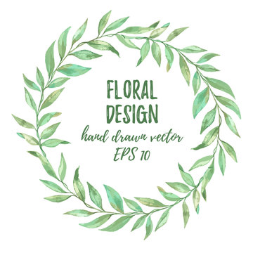 Hand drawn vector illustration. Imitation of watercolor. Floral