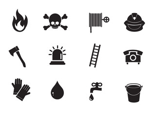 Firefighter icon set. Vector art.