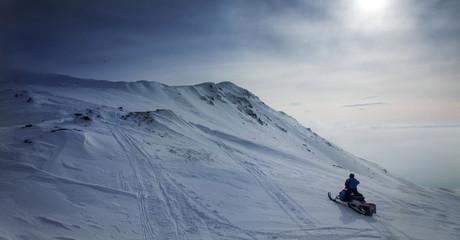Snowmobile in snowy scenery