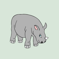 Vector baby rhino . Cartoon illustration