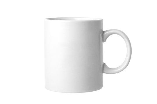 Empty white mug isolated on white background
