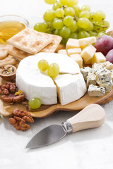 camembert, grapes and crackers on a white table, vertical