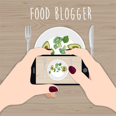 Food blogger. Hands holding phone taking photo of lunch on wood table. Freelancer. Top view. Flat vector illustration.