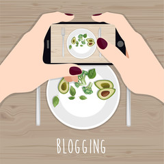 Blogging. Hands holding phone taking photo of lunch on wood table. Instagram blogger. Subject photography. Freelancer. Top view. Flat vector illustration.