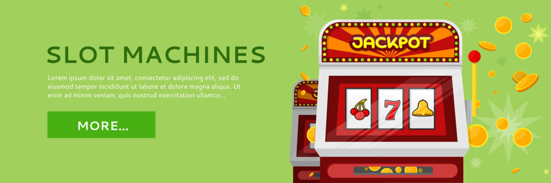 Slot Machine Web Banner Isolated on Green