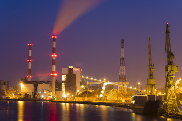 power plant on ecological fuels, biomass, biofuels at night