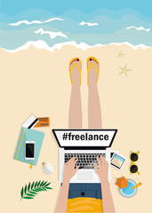 Freelance concept. Girl laying on the beach and typing on laptop. Top view. Hand drawn vector illustration. Workplace with mobile, notebook, camera, pictures and credit cards on beach. Work and rest.