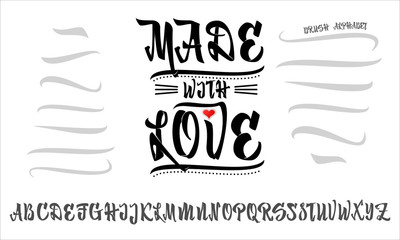 Vector Alphabet. Made with love. Calligraphic font. Unique Custom Characters. Hand Lettering for Designs - logos, badges, postcards, posters, prints. Modern brush handwriting Typography.