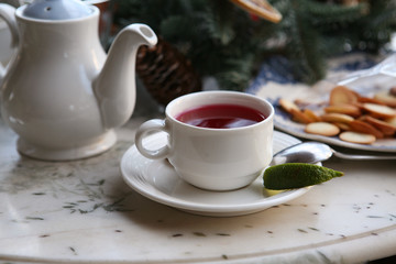 berry tea with lime and biscuits
