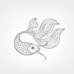 Fish isolated. Doodle line engraved decorative marine life background