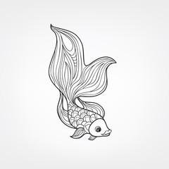 Fish isolated. Doodle line engraved decorative marine life background