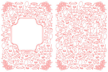 Design of wedding invitation card. Hand drawing illustration for invitation card. Women's accessories for wedding