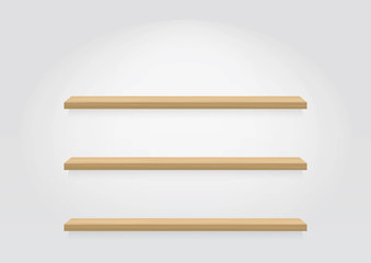 Empty wood shelf. vector