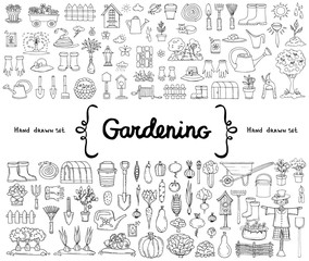 Vector set with hand drawn isolated doodles on the  theme of gardening, garden tools, agriculture, harvest