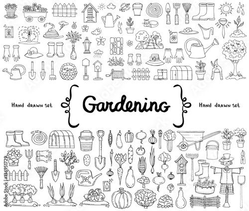 vector set with hand drawn isolated doodles on the theme of