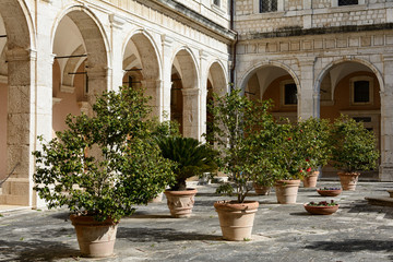 Inner courtyard of the famous and ancient abbey of Monte Cassino, Lazio, Italy