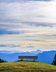 Wall Mural - bench at a mountain