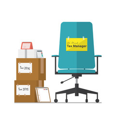 Job vacancy advertisement for Tax Manager with office workplace chair in flat design. Vector Illustration.