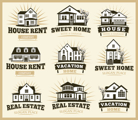 Isolated brown color architectural houses icons for real estate business leaflets emblems collection vector illustration.