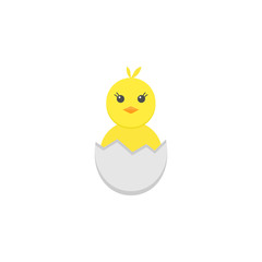 Chick hatched from an egg flat icon, religion & holiday elements, Happy easter sign, a colorful solid pattern on a white background, eps 10.