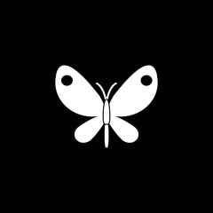 Butterfly solid icon, spring & easter elements, insect sign, a filled pattern on a black background, eps 10.