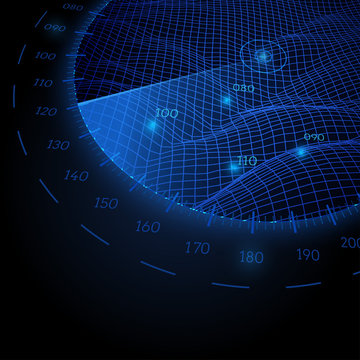 Radar round screen in perspective, on black background. Vector illustration.