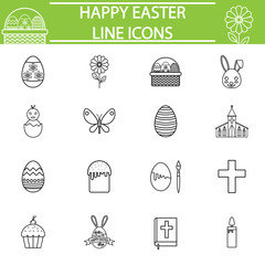 Happy Easter line pictograms package, Holiday symbols collection, religion day vector sketches, logo illustrations, spring linear icon set isolated on white background, eps 10.