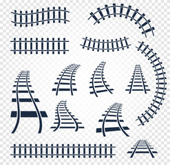 Isolated curvy and straight rails set, railway top view collection, ladder elements vector illustrations on white background.
