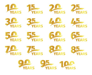 Isolated golden color numbers with word years icons collection on white background, birthday anniversary greeting card elements set vector illustration.