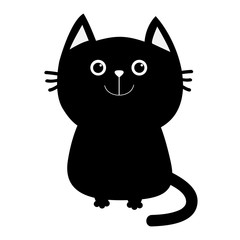 Black cat icon. Cute funny cartoon smiling character. Kawaii animal. Big tail, whisker, eyes. Happy emotion. Kitty kitten Baby pet collection. White background. Isolated. Flat design.