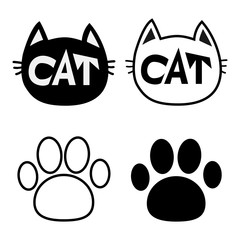 Black cat head face contour silhouette icon set. Line pictogram. Empty temlate. Paw print track. Cute funny cartoon character. Kitty kitten whisker Baby pet. White background. Isolated. Flat design.