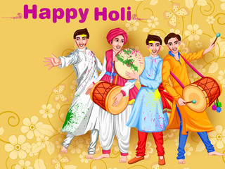 Indian people celebrating color festival of India Holi