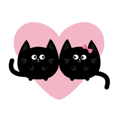 Round shape black cat icon. Love family couple. Pink heart Cute funny cartoon smiling character. Kawaii animal. Happy emotion. Kitty kitten Baby pet collection. White background. Isolated. Flat design