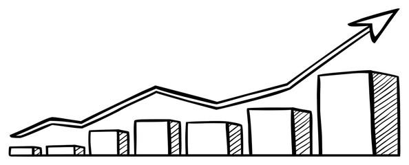 Zeichnung: Aufwärts strebendes Balkendiagramm / schwarz-weiß, Vektor, freigestellt