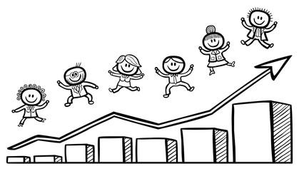 Geschäftsleute beim Freudensprung mit ansteigendem Balkendiagramm / handgezeichnet, schwarz-weiß, Vektor, freigestellt